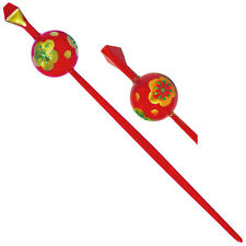 Japanese Hair Ornament Kanzashi Red Ball Stick Golden Plum Blossom