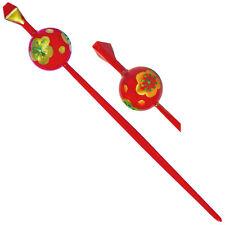 Japanese Hair Ornament Kanzashi Red Ball Stick Golden Plum Blossom