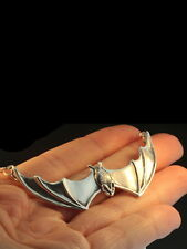"""Nib Stunning! 3""""W Solid Sterling Silver Large Gothic Bat Necklace By Marty Magic"""
