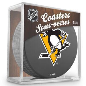 Pittsburgh Penguins NHL Team Logo Hockey Puck Coasters (Package of 4) in Cube