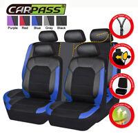 Universal Car Seat covers Leather Mesh Blue Black Breathable For SUV VAN Sedan