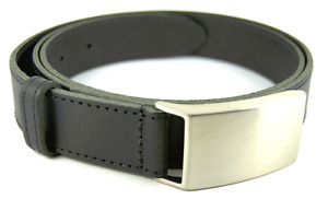"""Black Real Leather Belt 30""""-63"""" - With Quality Buckle - For Jeans & Trousers"""