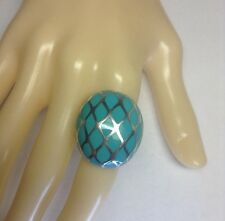 Vintage Sterling Silver Turquoise Enamel Domed Cocktail Ring Size 6 R176