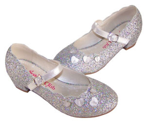 Girls Childrens Silver Glitter Sparkly Party Mary Jane Shoes Low Heeled Fashion