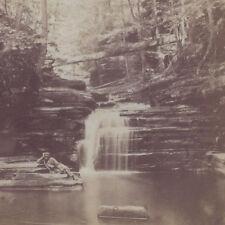 1880s GATES & MALETTE STEREOVIEW #69 WATKINS GLEN? NY WATERFALLS