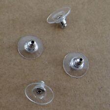 Lot 10 embouts poussoirs boucles d'oreilles métal platine et plastique -ba039