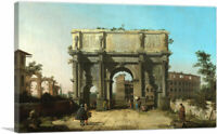 View of the Arch of Constantine with the Colosseum Canvas Art Print by Canaletto