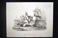 Incisione d'allegoria e satira Italia, Pio IX Don Pirlone 1851