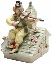 """COSMOS CLOWN WITH VIOLIN MUSICAL FINE CERAMIC MUSIC BOX-PLAYS """"TOP OF THE WORLD"""""""