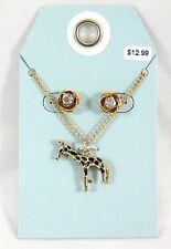"""Adorable New 18"""" Goldtone Necklace With a Giraffe Pendant & Earrings #N2393"""