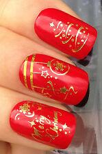 Navidad Nail Art Agua calcomanías transferencias pegatinas Oro Árbol Decoraciones # 804