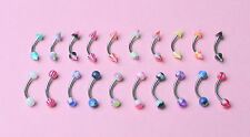 10 x UV (Micro) EYEBROW BARS BALL SPIKE , BODY JEWELLERY, SURGICAL STEEL 316L