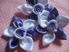 """20 Satin Ribbon 2.25"""" Flower w/Rose-Lavender/White RF058"""