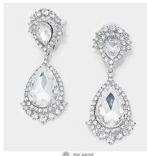 "2.75"" Long CLIP ON Rhinestone Crystal Clear Silver White Wedding Drop Earrings"