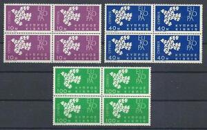 Cyprus 1962 Sc# 201-03 Doves Europa issue 1961 blocks 4 MNH