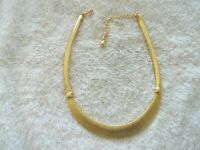 """Avon SP"" Statement Necklace, Gold Tone Metal, Solid Metal Arch Center"