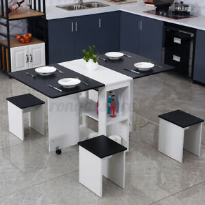 5pc Kitchen Dining Set Wood Bar Modern Table Chair Home Space Saving Furniture