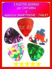 5 PLETTRI Colorati MORBIDI 0,46 mm CHITARRA UTENSILE APERTURA SMARTPHONE TABLET
