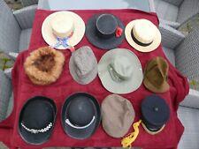 A selection of 11 hats - panama, sun-hat, flat-cap, police women's, fur-hat