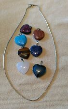7 Various Stone Heart Pendants & 16 inch Sterling Silver Snake Chain