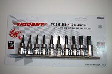 """Trident T120500 Torx TX Bit Socket Set 10 pc 3/8"""" Dr T10 - T55 On A Rail New"""