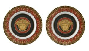VERSACE BY ROSENTHAL MEDUSA RED BREAD&BUTTER PLATE PAIR #409605-10218 BRAND NIB