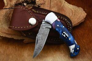 MH KNIVES RARE CUSTOM DAMASCUS STEEL FOLDING/POCKET KNIFE BACK LINER LOCK MH-24M