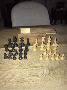 Antique Vintage Wooden Chess Pieces