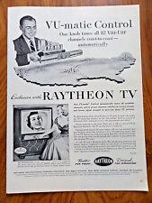 1953 Raytheon TV Television Ad  VU-Matic Control Tunes all 82 VHF-UHF
