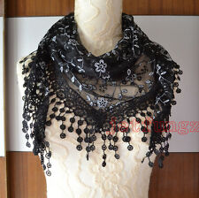 Lace Sheer Floral Print Triangle Veil Church Mantilla Scarf Shawl Wrap Tassel 15