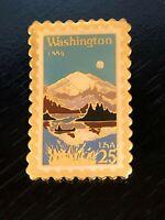 Vintage Collectible Washington Stamp 25 USA Metal Colorful Pinback Lapel Pin
