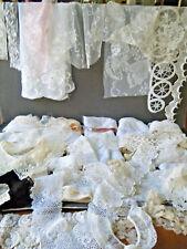 #1 Lot Vtg Antique Collars Victorian net &Hm needle lace eyelets bobbin &val