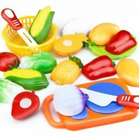 Kids Plastic Toy Fruit Vegetable Cutting Kitchen Play Pretend Food Fun Toys Set