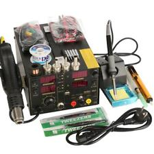 Saike 220V 909D+ Rework Soldering Station + Hot Air Gun + DC Power Supply 3 in 1