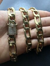 "Mens Figaro Link 12mm 30"" Chain 14k Gold Plated Steel *1ct Lab Diamond Clasp*"