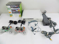 Xbox 360 White Console + 2x Afterglow Controllers + 15x Games + Headset