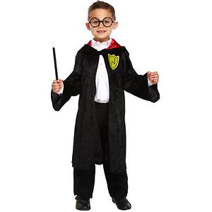 1 Wizard Boy Robe Fancy Dress Up Costume Outfit Cape Cloak Magician Kids Fun Lot