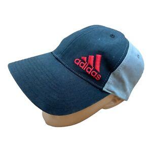 ADIDAS Embroidered Baseball Cap Hat Black Grey Vintage Sport Spellout Adjustable