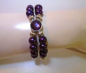 "Purple Pearl Beaded Bracelet 7"" stretch bracelet handcrafted purple pearl beads"