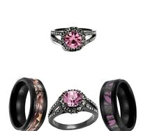 HIS AND HER BLACK PINK TITANIUM CAMO HER CZ SST 3pcs WEDDING ENGAGEMENT RING SET