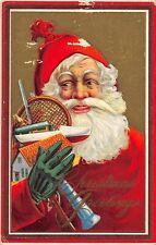 F39/ Santa Claus Merry Christmas Postcard c1912 Toys Green Glove 1