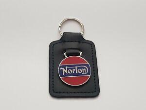 NORTON MOTORCYCLE ENAMEL LEATHER KEY FOB / RING. 45026