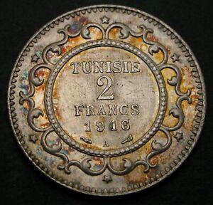 TUNISIA 2 Francs AH1334/1916A - Silver - VF/XF - 1020