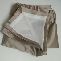 emma barclay pair beige curtains size 45x53 lined tape top bedroom lounge silky