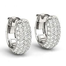 1 Ct Diamonds 5 Row Pave Hoop Huggie Earrings 14k WG 0.5 Inch Gorgeous ASAAR