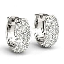2 Ct Diamonds 5 Row Pave Hoop Huggie Earrings 14k White Gold 0.5 Inch Gorgeous