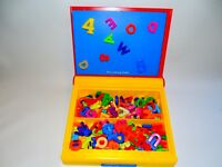 Childrens Magnet Storage Box with Letters and Numbers for spelling and Maths