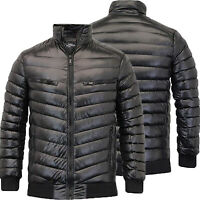 Mens Shiny Padded Quilted Brave Soul Hooded Puffer Jacket Winter Bubble Coat New