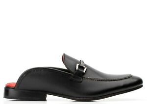BASE LONDON MENS UK 6 DOLCE WAXY BLACK BACKLESS LOAFERS CASUAL SHOES