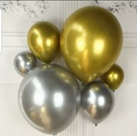 10 Pack METALLIC LATEX PEARL CHROME BALLOONS 5 inch Balloon Birthday Party